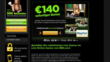 """Live Casino Bonus im 888Casino an """"deutschem Tisch"""""""