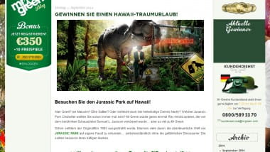 Jurassic Park spielen und mit Mr. Green nach Hawaii