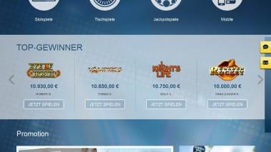 Top-Gewinner Anzeige im Sunmaker Casino
