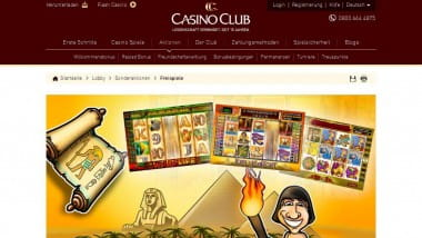 Bis zu 300 Gratisspiele bei Casino Club