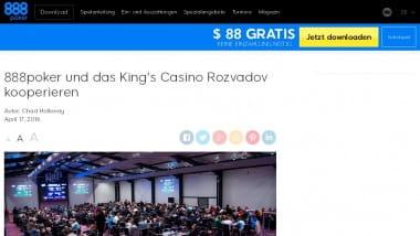 888poker und King's Casino kündigen engere Zusammenarbeit an