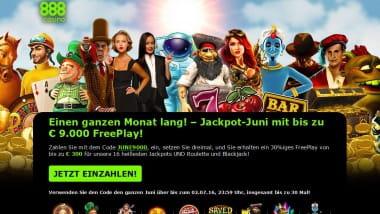 888 Jackpot-Juni: Einen Monat lang Boni kassieren