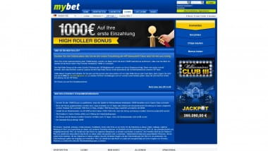 Mybet Casino – High-Roller Bonus bis zu 1.000 Euro
