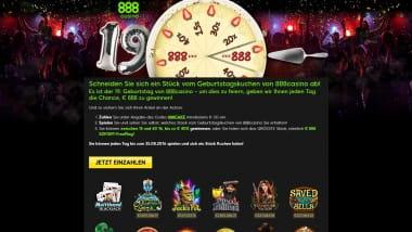 888 Casino – Bis zu 888 Euro auf der 888 Geburtstagsparty
