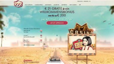 777 Casino: 21 Euro ohne Anmeldung sichern