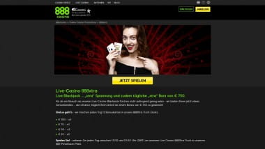 888 Casino: Täglich 750 Euro Bonus im Live-Casino
