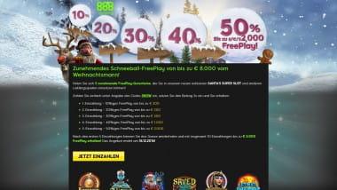 888 Casino: Bis zu 8.000 Euro Bonus mit dem Schneeball-Freeplay