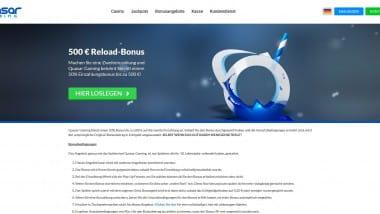 Quasar Gaming: Jeden Freitag bis zu 500 Euro Bonus holen
