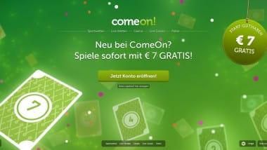 ComeOn Casino: 7 Euro gratis ohne Einzahlung sichern