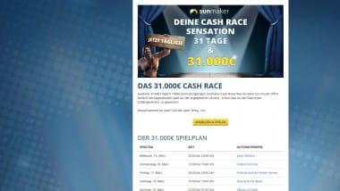 Sunmaker: Jetzt Preise beim 31.000 Euro Cash Race schnappen