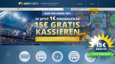 Sunmaker: 1 Euro einzahlen und mit 16 Euro spielen