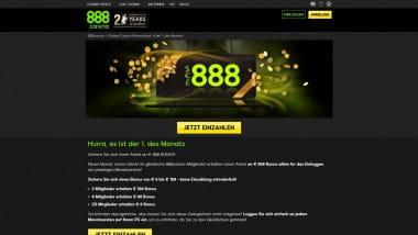 888 Casino: Bonus am Ersten des Monats sichern