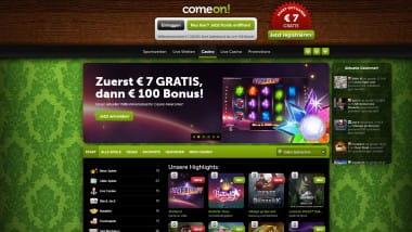 ComeOn Casino: Neukundenbonus frei wählen