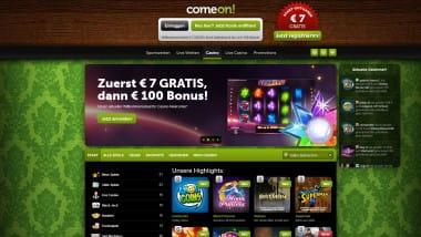 ComeOn Casino: 7 Euro ohne Einzahlung sichern