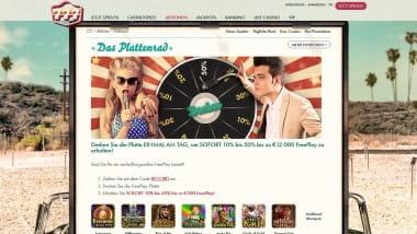 777 Casino: Täglich Freeplay bis zu 300 Euro sichern