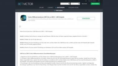 Betvictor Casino: Bis zu 200 Euro Bonus und 100 Freispiele holen
