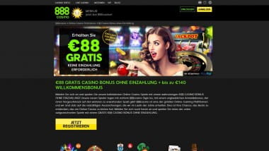 888 Casino: 88 Euro Bonus ohne Einzahlung kassieren