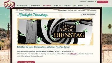 777 Casino: Bis zu 77% Bonus am Dienstag sichern