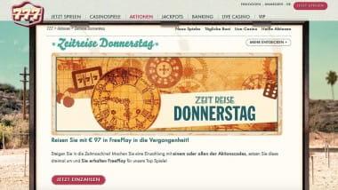 777 Casino: Bis zu 97 Euro Freeplay jeden Donnerstag sichern
