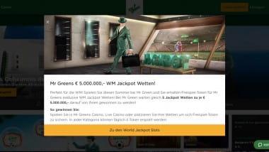 Mr. Green Casino: 5.000.000 Euro mit den WM Jackpot Wetten gewinnen