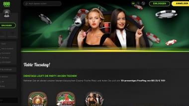 888 Casino: Bis zu 150 Euro beim Table Tuesday einkassieren
