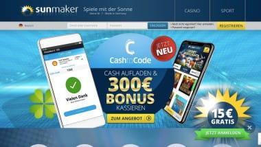 Sunmaker: Bis zu 300 Euro Bonus für CashtoCode-Einzahlungen