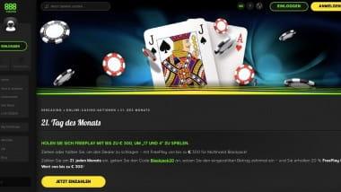 888 Casino: Jeden Monat bis zu 300 Euro Black-Jack-Reload sichern