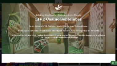 Mr Green: Im September Live-Überraschungen sichern
