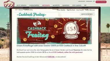 777 Casino: Freitags gewinnen oder 50% Cashback kassieren