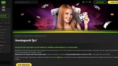 888 Casino: 100 Euro Bonus Samstagnacht sichern