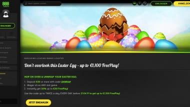 888 Casino: Bis zu 1.100 Euro Oster-Freeplay sichern