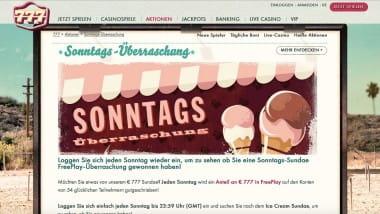 777 Casino: Überraschen lassen vom Sonntags-Sundae