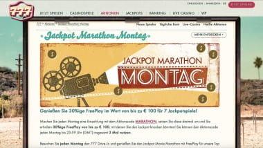 777 Casino: 300 Euro Freeplay am Jackpot Montag schnappen