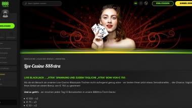 888 Casino: 750 Euro Black Jack Bonus täglich