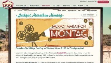 777 Casino: Am Jackpot Marathon Montag bis zu 300 Euro Bonus holen