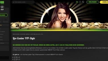 888 Casino: Täglich mit dem Live Black Jack Bonus abräumen