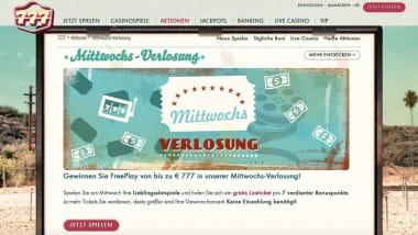 777 Casino: Gewinnen bei der Mittwochs-Verlosung