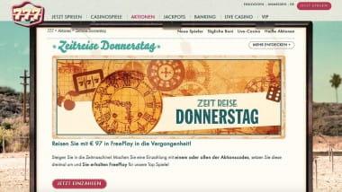 777 Casino: 97 Euro Bonus am Zeitreise-Donnerstag holen
