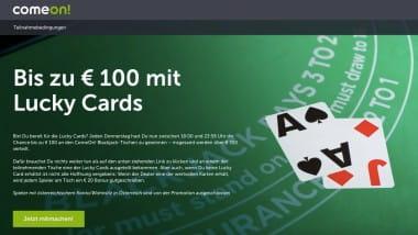 ComeOn Casino: Bis zu 100 Euro mit den Lucky Cards sichern