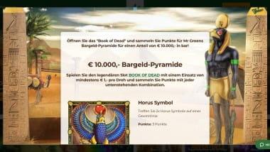 Mr Green: 10.000 Euro Preispool bei der Bargeld Pyramide