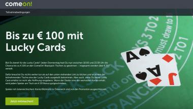 ComeOn Casino: Lucky Cards beim Black Jack ziehen und Bonus sichern