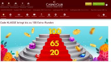 CasinoClub: Mit dem KLASSE-Bonus bis zu 100 Freispiele holen