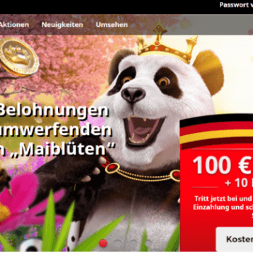 Royal Panda Casino: 100€ Willkommensbonus plus 10 Freispiele