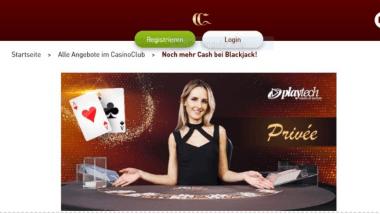 CasinoClub: Bei Blackjack von Playtech gibt es Extra-Gewinne
